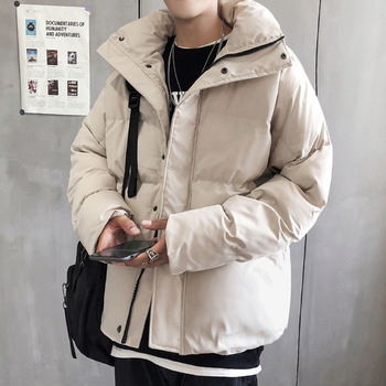 Winter Down Jacket Men Warm Thick Parka Men Fashion Simple Color Casual Cotton Coat Man Streetwear Loose Overcoat Male Clothes