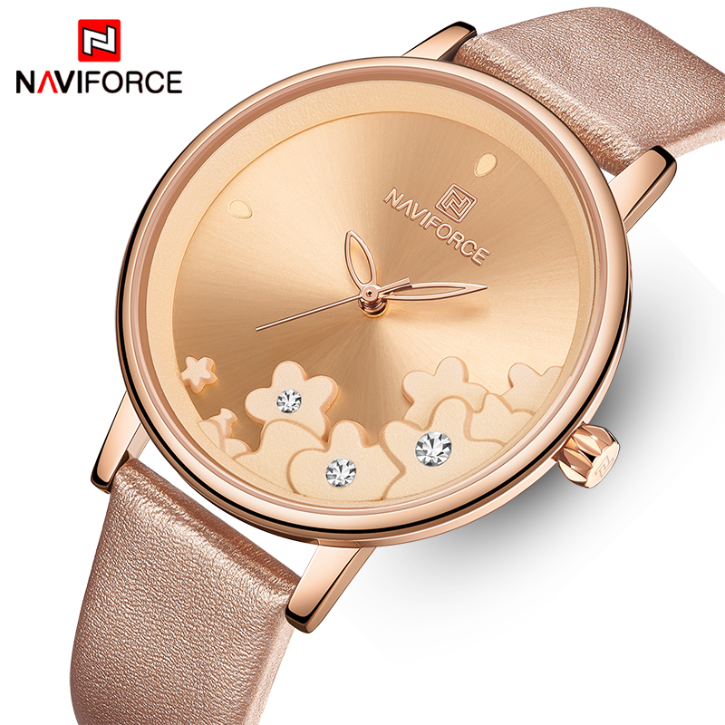 New NAVIFORCE Watches Women Luxury Fashion Flower Quartz Wristwatch Waterproof Ladies Watch Rose Gold Girl Clock Reloj Mujer