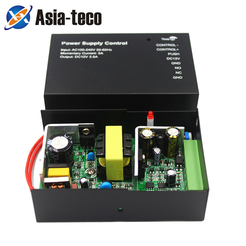 DC 12V 24W 3.5A Door Access Control Power Supply Switch 3.5A Time Delay Adjustable AC100V-240V Input NO/NC Output