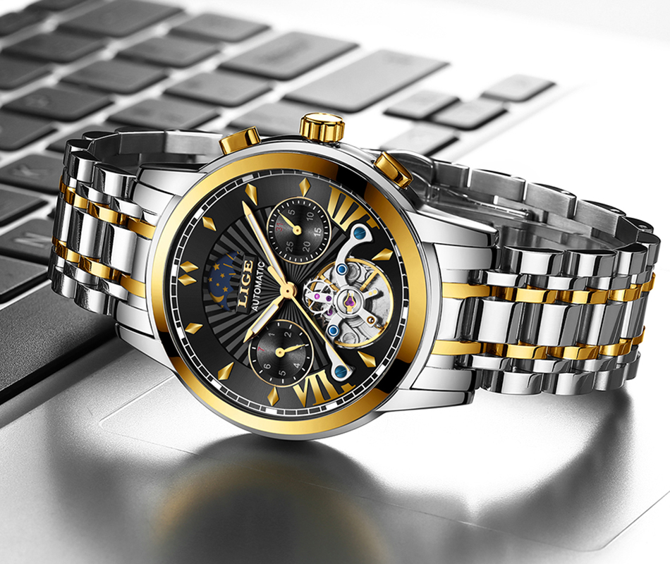 LIGE Official Store Mens Watches Top Brand Luxury Automatic Mechanical Business Clock Gold Watch Men Reloj Mecanico de Hombres H6134469c34da40ec94dd6775cec709e1n
