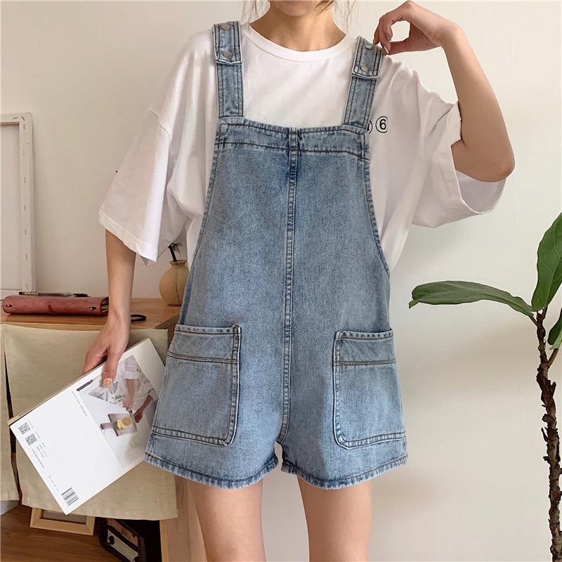 Summer High Waisted Denim Shorts Women Overalls Korean Retro Tumblr Jeans Shorts Female Harajuku Casual Loose Denim Suspenders