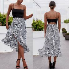 купить Women Wrap Sarong Aysmmetric Long Skirt Zebra-Stripe Beach Cover Up Bohemian Boho Smock онлайн