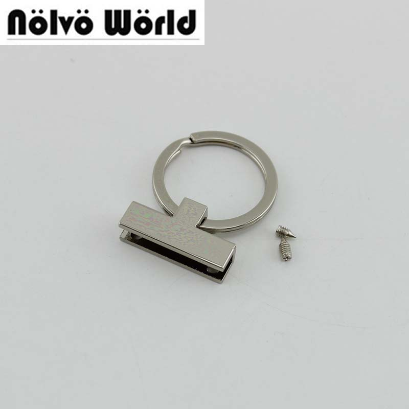 10pcs 5 Colors Num 3 T-shape 30mm Key Fob Hardware With 24mm Split Key Rings,Make Your Own Key Fobs