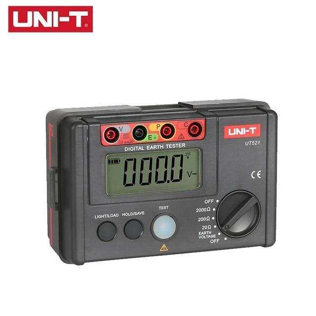 UNI T UT521 LCD Testeur de Résistance À La Terre Numérique Affichage Basse Tension 0 200V 0 2000 ohm Terre Résistance Tension Dessai De Compteur