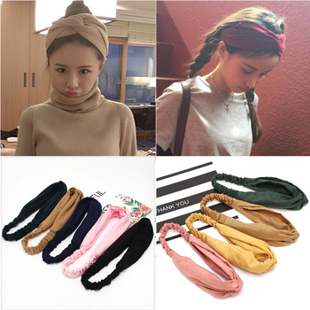 Women Headband Cross Top Knot Elastic Hair Bands Soft Solid Color Girls Hairband Hair Accessories Twisted Knotted Headwrap 2