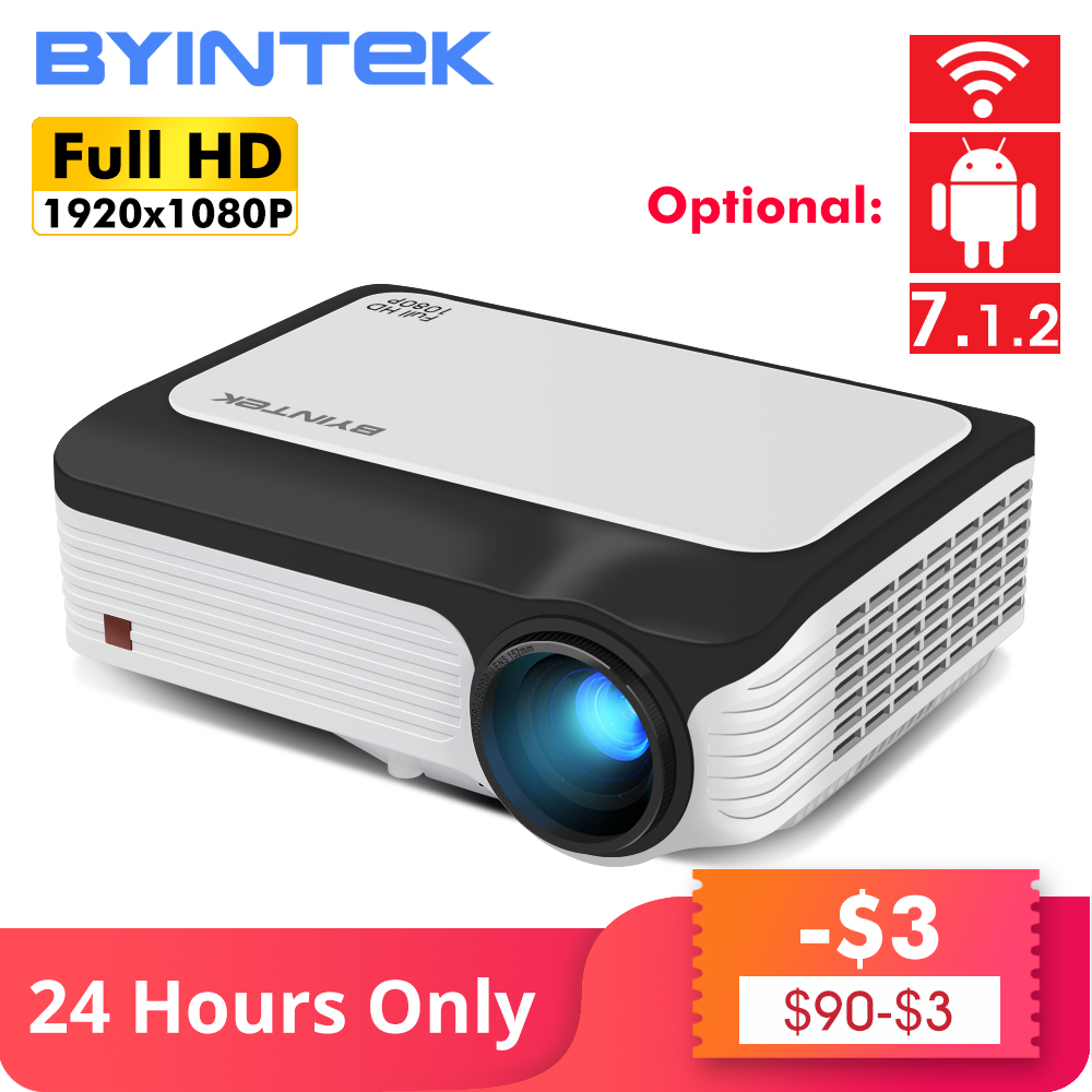 BYINTEK M1080 Inteligente (2GB + 16 GB) android WIFI FULL HD 1080P LED Portátil Mini Projetor 1920x1080 de Vídeo LCD Para Iphone SmartPhone