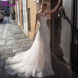 Image 1 - Fsuzwelロマンチックなストラップレス裁判所の列車aラインのウェディングドレス2020高級ビーズオフショルダープリンセスウェディングドレス