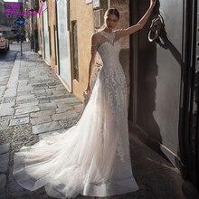 Fsuzwel romantik straplez aplikler mahkemesi tren A Line düğün elbisesi 2020 lüks boncuklu omuz kapalı prenses gelinlik