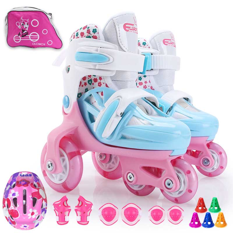 Kids 4 Wheel Roller Skates Double Brakes Adjustable Breathable Flash Skating Shoes Beginners Anti-fall Roller Skates With Suit
