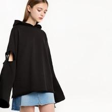 New sweatshirt European Fashion Loose Solid Color Hollow Hooded Turtleneck Black Sweatshirt Women 2019 Hooded  Women Sweatshirt lace up solid hooded sweatshirt