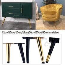 4 Uds metal pata de mesa de mobiliario ferretería cónica gabinete dorado pata aparador armarios café cono silla pies 15/20/25/30cm