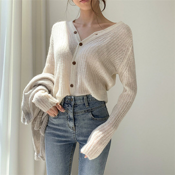 Ailegogo 2020 Autumn Winter Women's V-Neck Sexy Knitwear Stylish Knitted Button Cardigans Korean Lady Sweaters SWC2205 2