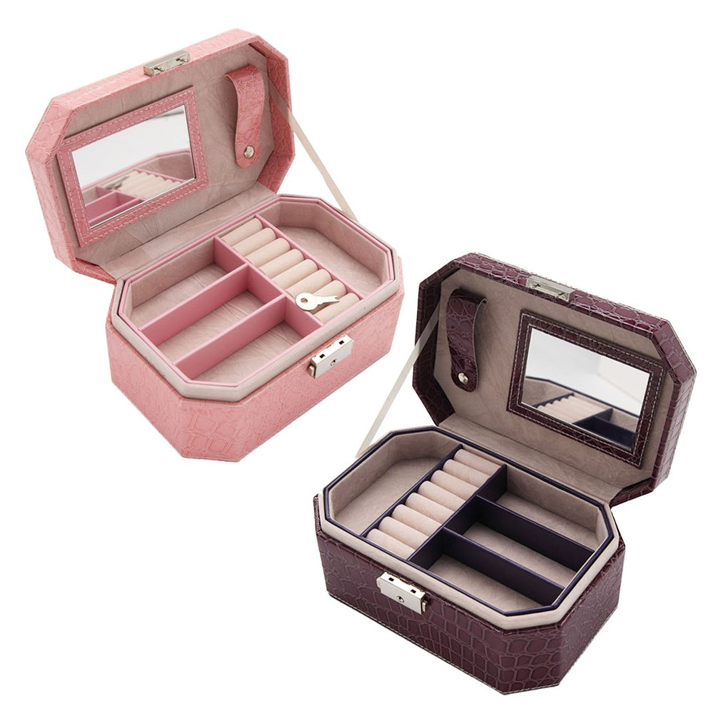 Double Layers Crocodile Grain Jewelry Box Ring Earrings Bracelet Necklace Organizer Display Holder With Mirror Case Container
