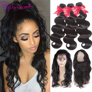 Cynosure Pre Plucked 360 Lace Frontal with Bundle Body Wave  Brazilian Human Hair Weave 3 Bundles with Frontal Closure Remy