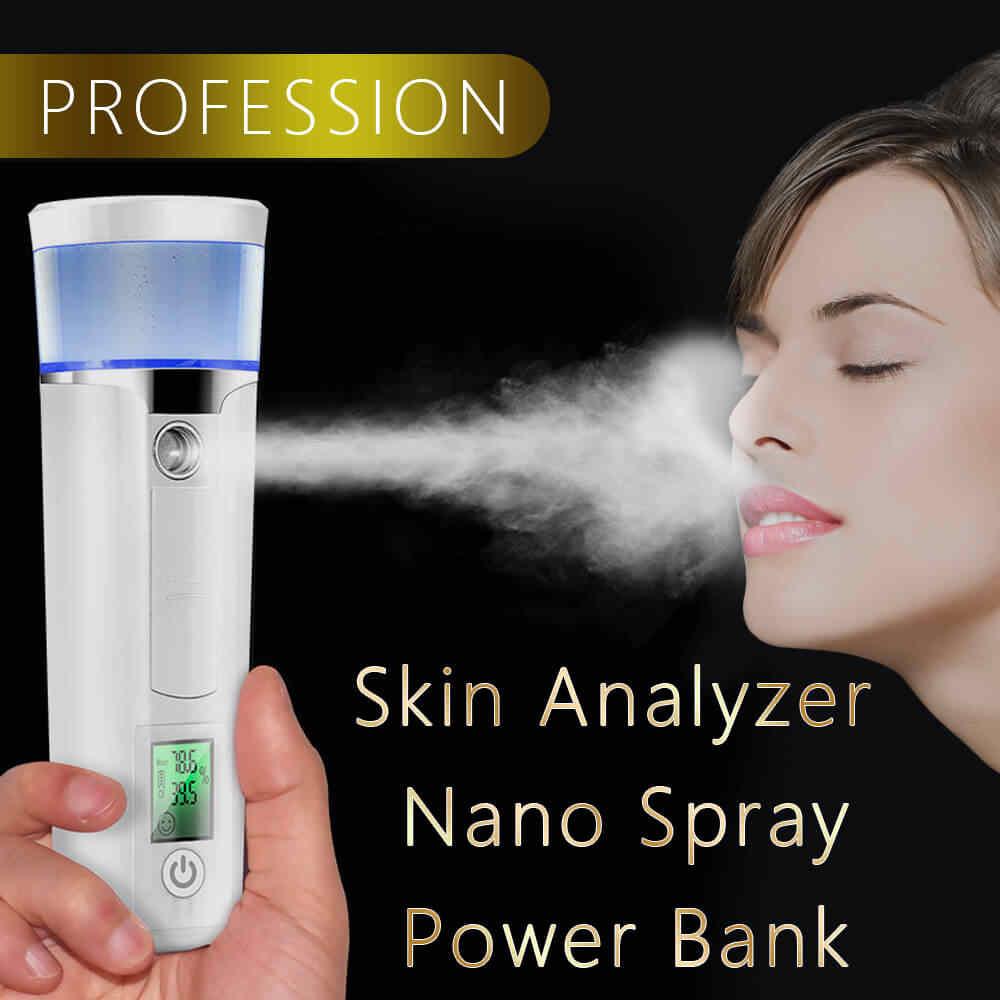 デジタルスキンアナライザープロフェッショナルポータブルテスタードライ水分油分分析顔スプレー顔ナノ汽船デバイス