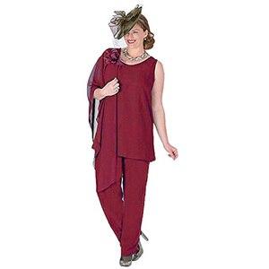 Image 5 - Zarif 3 Adet Anne Gelin Pantolon Takım Elbise Şifon Ceket Anne Gelin Elbiseler Artı Boyutu