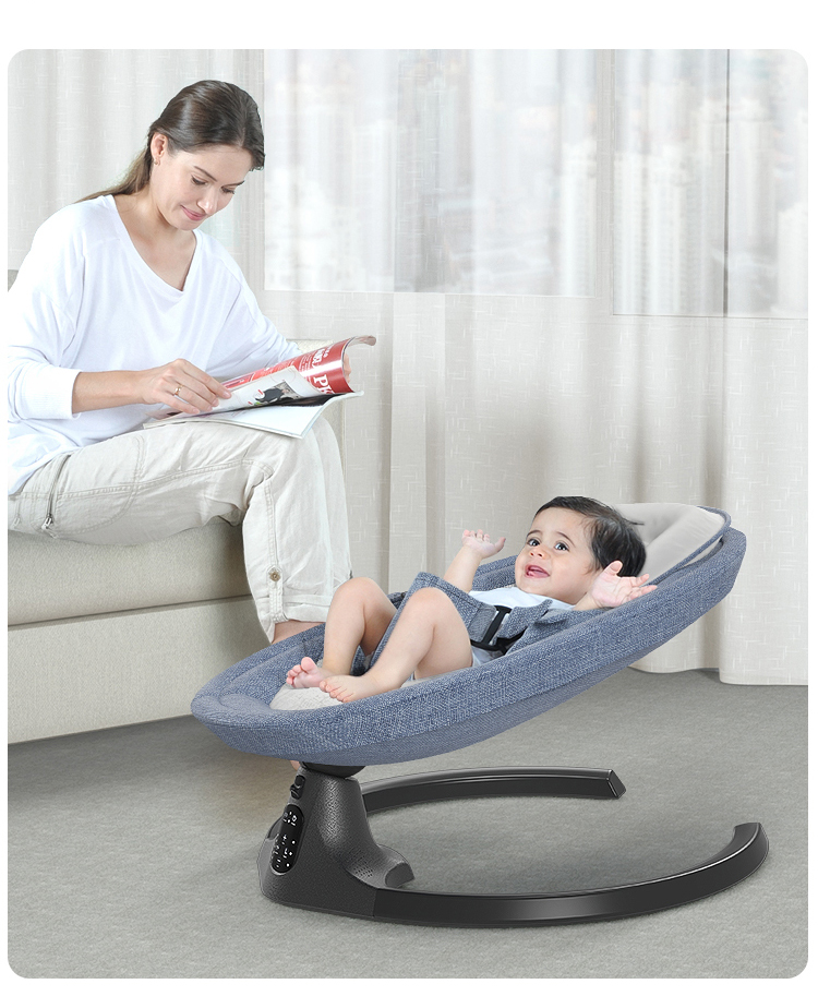 H613536bf7458429a953c2b1be09aa501t Baby Electric Rocking Chair Bluetooth Remote Artifact Newborn Baby Sleeping Basket with music Kids Swing cardle 0-36month