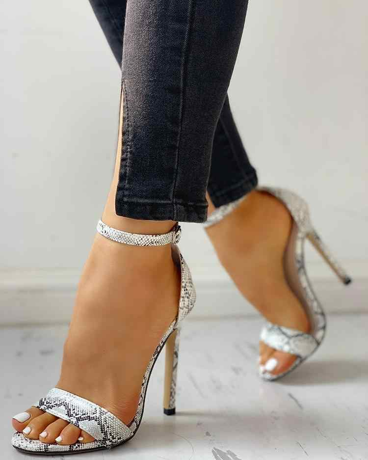 ¡Novedad de verano! Zapatos de tacón alto de lujo con estampado de serpiente, zapatos de tacón para mujer cómodos para fiesta, zapatos informales de gladiador Romo Peep Toe, sandalias Sexy