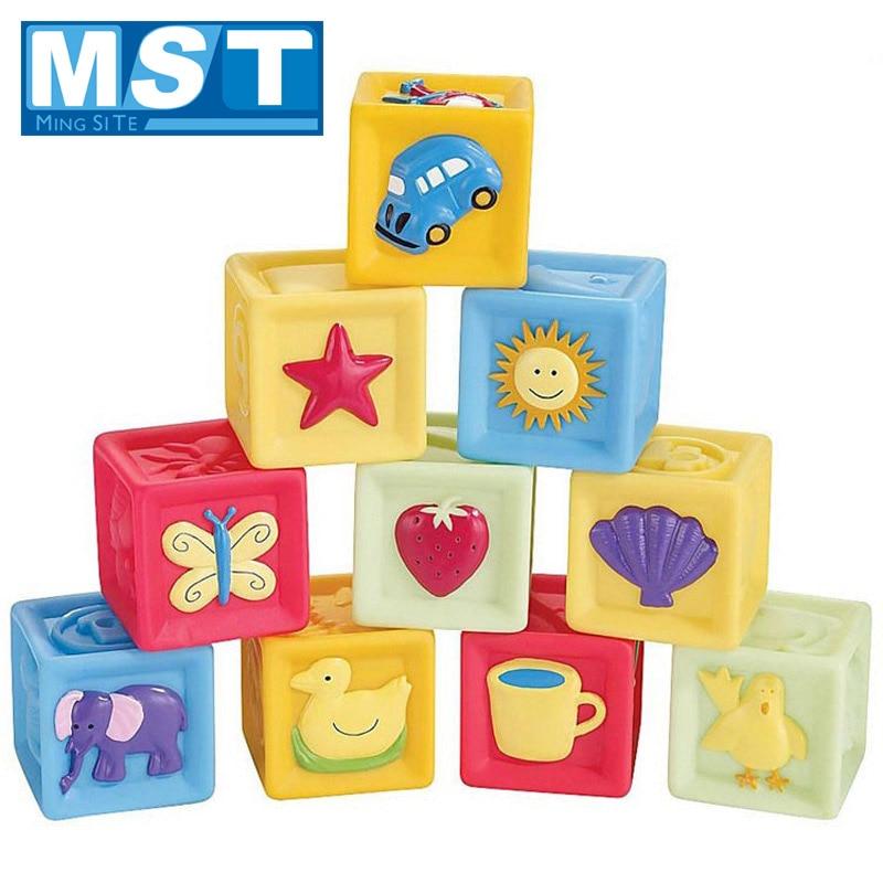 10Pcs Soft Rubber Building Blocks Colorful Baby Teethers Set Animals Shape Baby Block Massage Education Grasp Kids Toys