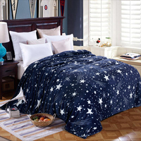 Bright stars bedspread blanket 200x230cm High Density Super Soft Flannel Blanket to on for the sofa/Bed/Car Portable Plaids