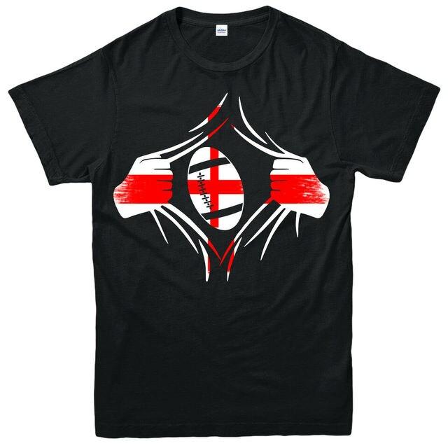 Vlag Van Engeland Rugby T-shirt, Spel Voetbal Sport Lover Superman Pose Scheuren Top