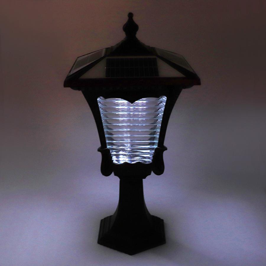 LED Zonne energie Pijler Licht Retro Stijl 2 Kleuren Lantaarn Glas Yard Garden Gate Post Lamp - 3