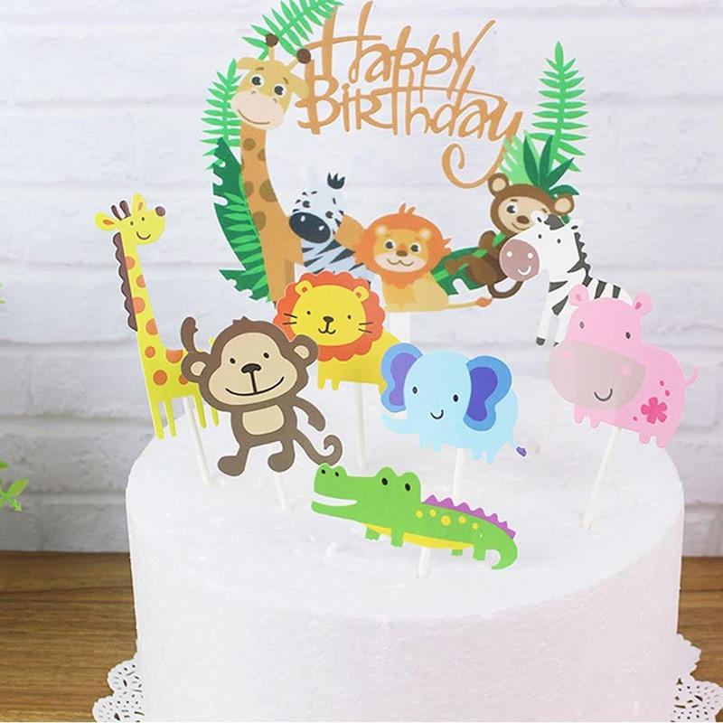 Сафари ДЖУНГЛИ зоопарк животное тема мальчик девочка первый дикий один два три четыре День рождения украшение стол Конфетти торт Топпер