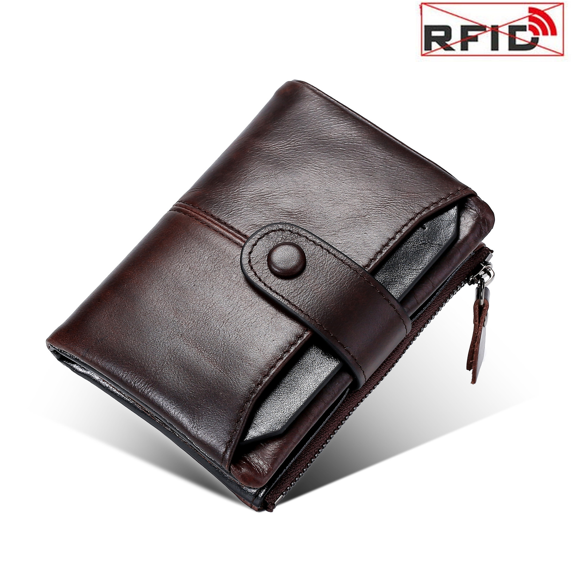 New Men's Wallet Coin Purse Card Holder Anti Theft Brush Rfid Money Bag Luxury Oil Wax Vintage Genuine Leather Wallet Purses