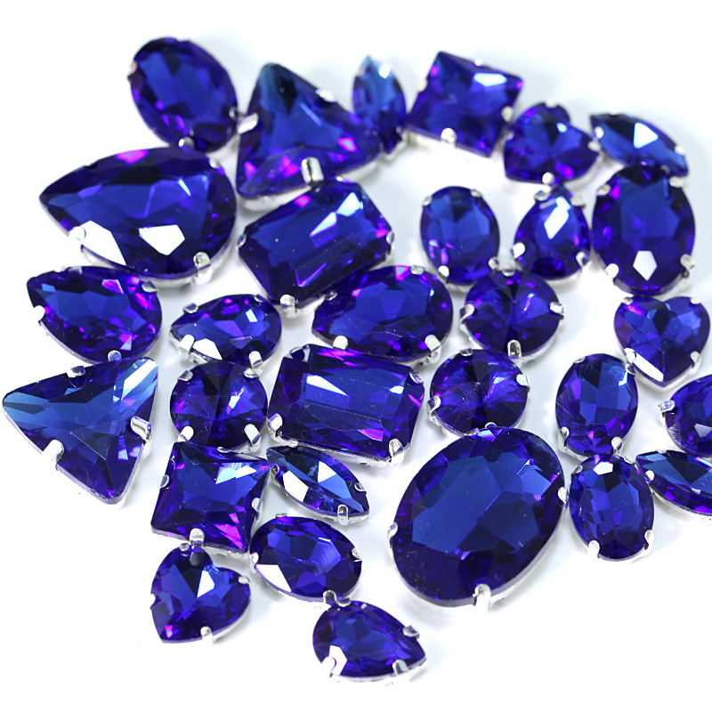 50pcs Mixed Sew On Royal Blue Crystal Glass Diamante Claw Set Rhinestone Gems