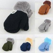 Glove Mittens Furring Winter Children Fashion Keep-Warm ISHOWTIENDA Py6 Knitting Thickening