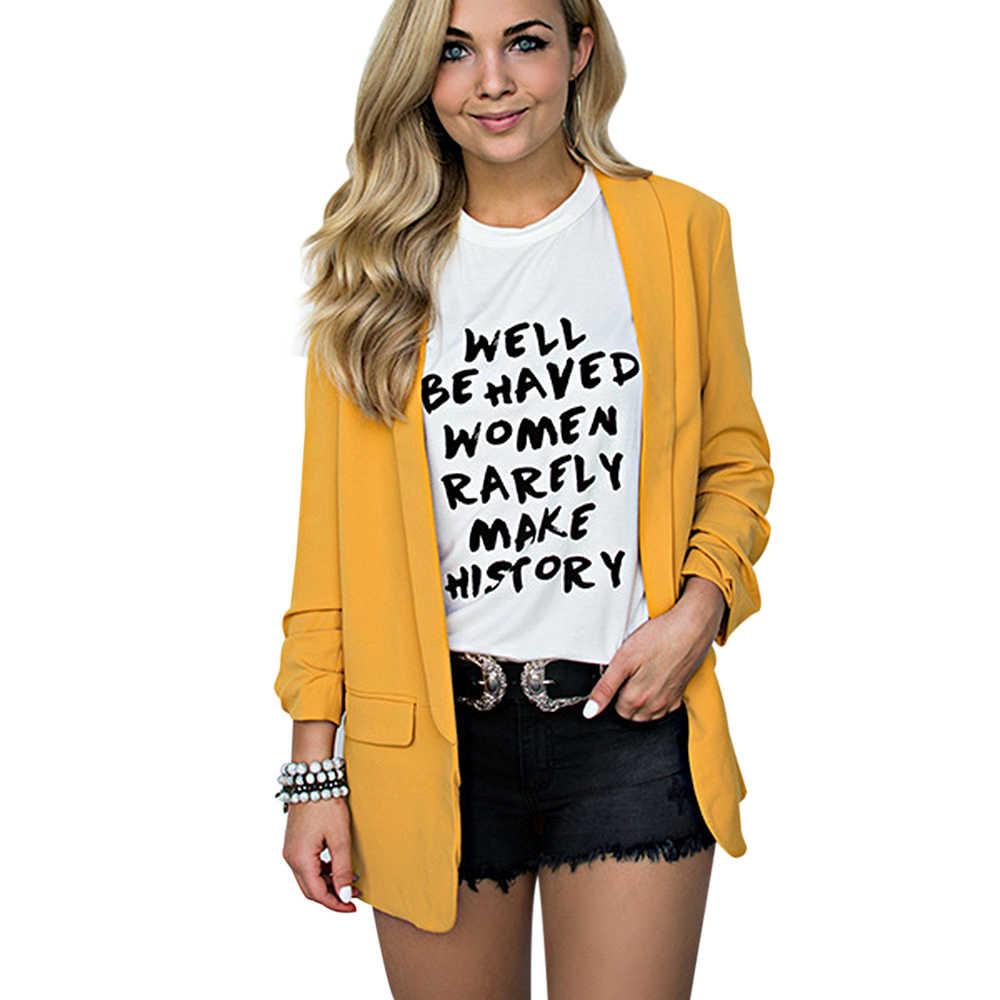 2019 女性の秋シフォンブレザーオフィスの女性のスーツジャケットファッション長袖ルーズカジュアル固体コートビジネスブレザー生き抜く