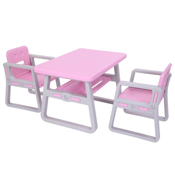 Fashion Pink Table And Chair Set For Kids Baby Study Table Plastic Kids Play Table And Chairs SKU91102613