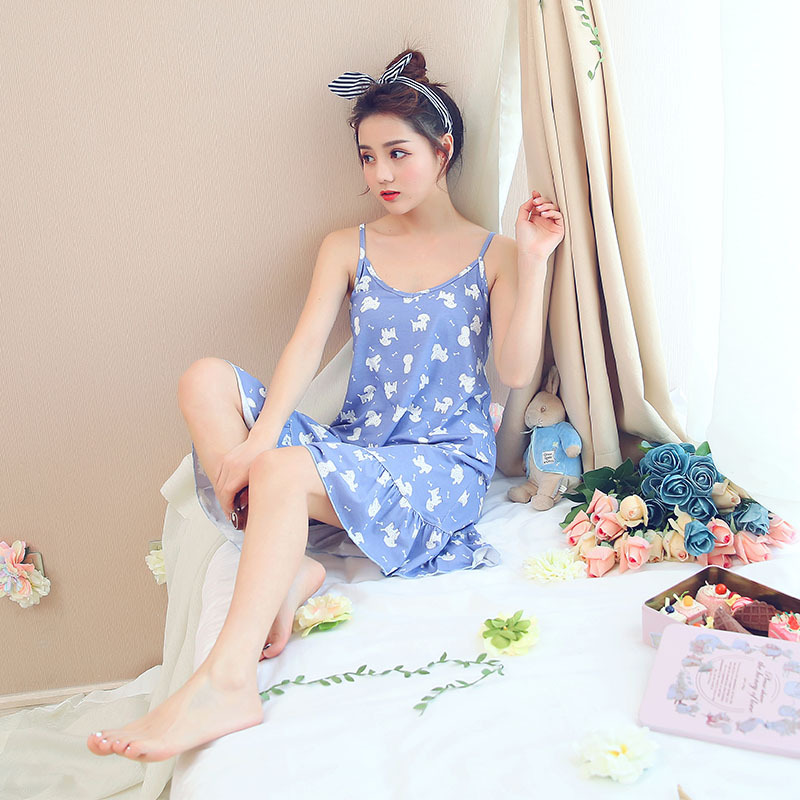 Nightgown Female Summer Korean-style New Style Camisole Sexy Temptation Cute Cartoon Fashion Casual Little Girl Pajamas Tracksui