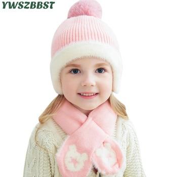 New Knitted Baby Hat Scarf with Star Bear Pattern Autumn Winter Baby Girls Hat Boys Cap Scarf Kids Cap Wool Pom Pom Hat 1-6Years girls pom pom detail polka dot sweater