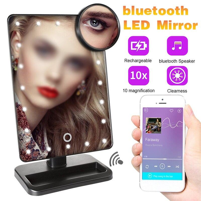 20 светильник светодиодный сенсорный экран зеркало для макияжа 10X увеличительное зеркало Настольный макияж туалетный столик bluetooth 360 градус