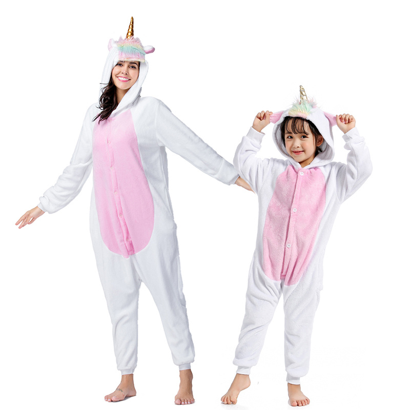 Image 3 - NEW mommy and me animal unicorn panda family matching pajamas clothes hooded kids mother soft sleepwear winter Christmas pyjamas-in Matching Family Outfits from Mother & Kids