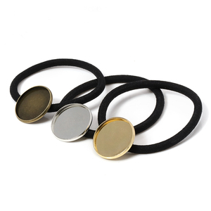 10pcs Hair Band Settings 20/25mm Cabochon Base Holder Hair Clips Elastic Band Rope DIY Women Hair Accessories For Jewelry Making(China)