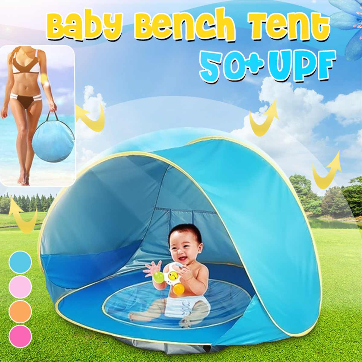 Baby Beach Tent Portable Waterproof Shade Tent Pool Outdoor Beach Automatic Pop' Up Sun Shelter For Infant Kids UV Protection