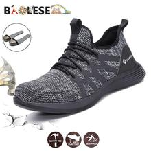 BAOLESEM Man Safety Shoes Male Work Sneaker Steel Toe Boots Lightweight Men Industrial for Protective Boot