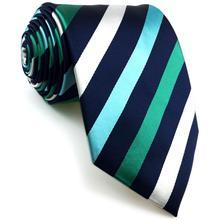 E35 Blue Green Stripes Mens Ties Wedding Silk Ties