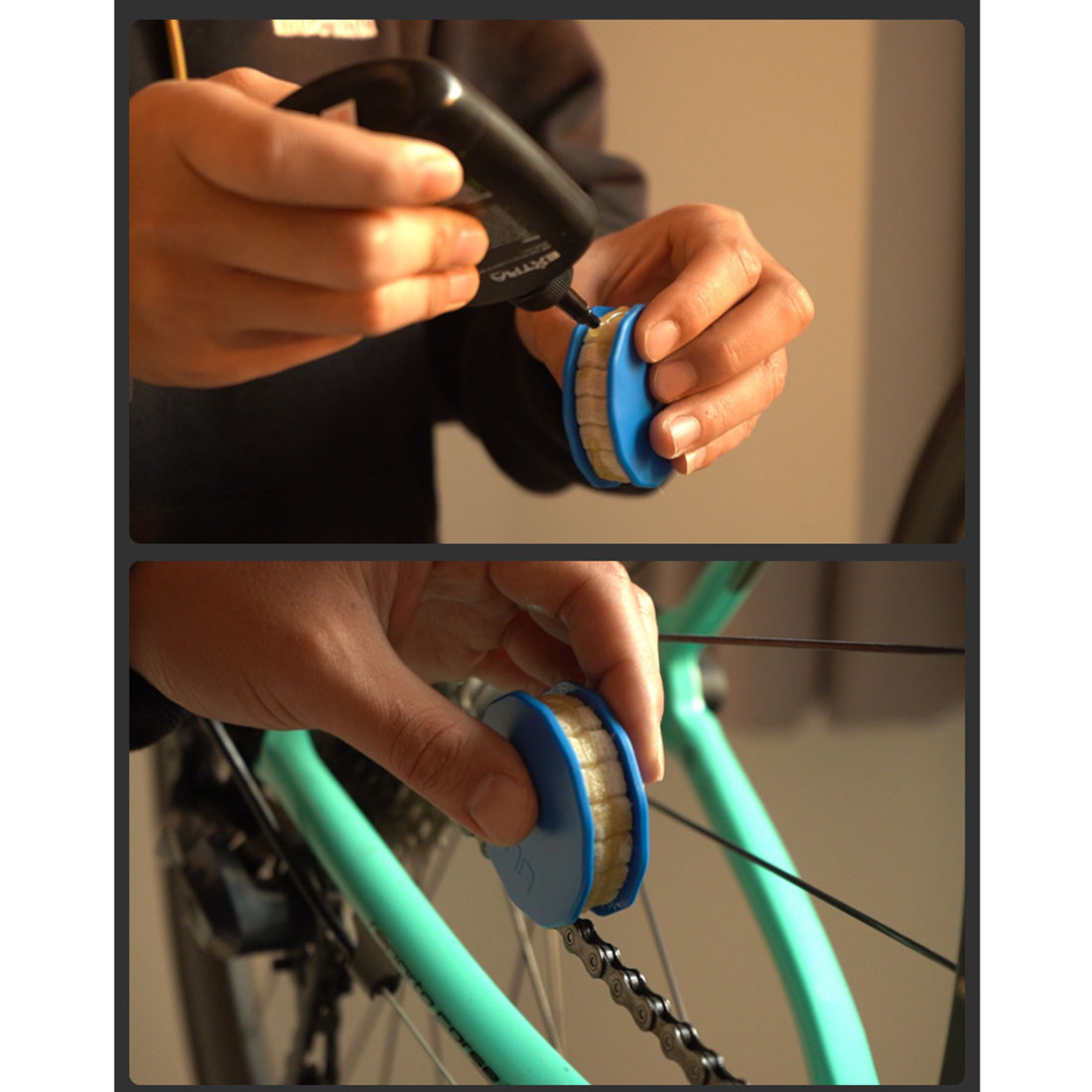 ABS Bicycle Chain Roller Oiler Wool Lubricant Lube Oil Lubricator Bike Tool 59mm