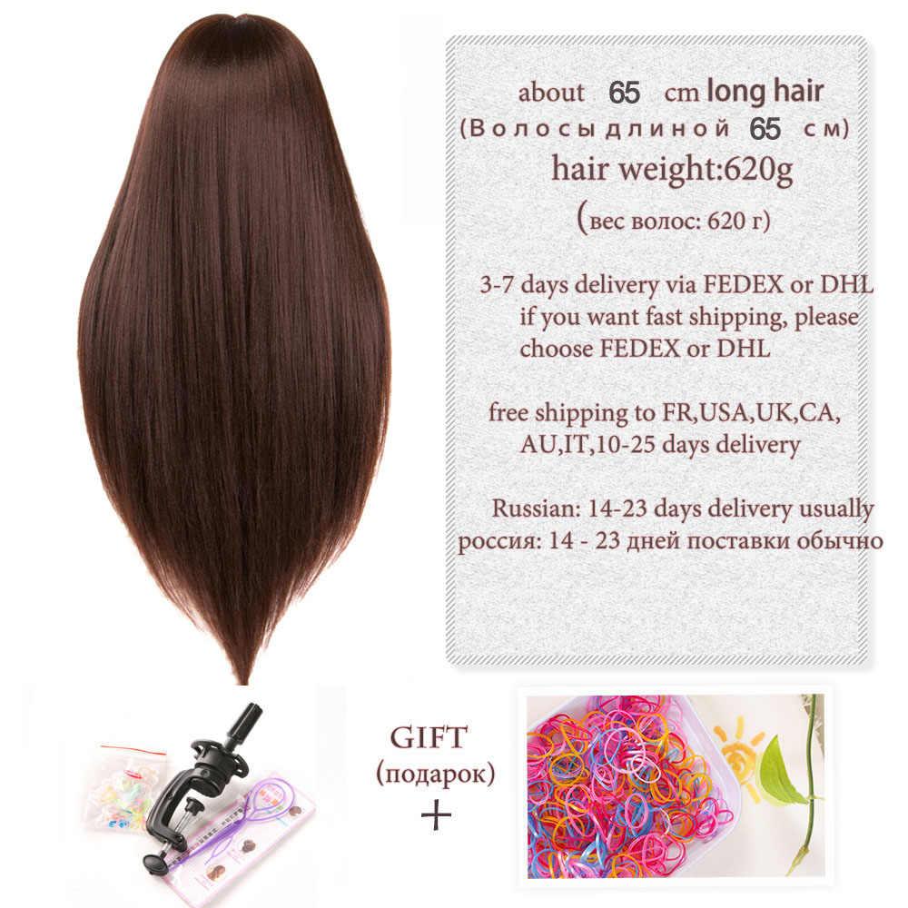 Głowa manekina lalki dla fryzjerów 65 cm syntetyczne czarne długie fryzury kobiece fryzjerstwo stylizacja głowa treningowa gruba