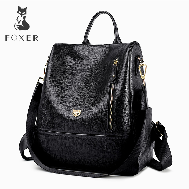 FOXER Brand Student Softback Backpack Women Genuine Leather Solid Travel Bags Female Cow Leather Fashoin Backpack for Lady|Backpacks| |  - title=