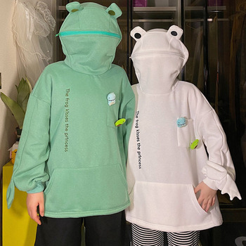 Harajuku Women Hoodie Frog Pullover Winter Sense Hooded Casual Sweatshirts Autumn Embroidery Loose Top Doll Decoration Hoodies image
