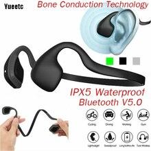 Yueetc العظام التوصيل بلوتوث سماعة سماعة لاسلكية تعمل بالبلوتوث سماعة مزودة بميكروفون التيتانيوم فتح الأذن الرياضة اللياقة البدنية سماعة
