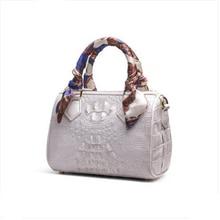 цены ouluoer import  Crocodile skin lady's bag white leather mini Boston bag one shoulder cross shoulder carry bag women handbag