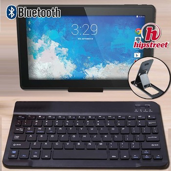 """Ultra Slim Wireless Bluetooth Keyboard for HIPSTREET Phantom2 10.1""""/Pilot 10"""" Tablets Compatible for IOS Android Windows+Bracket"""