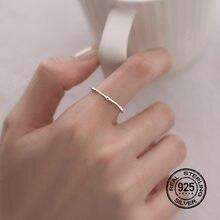 925 Sterling Silver Rings For WomenOpening Adjustable Plain Circle Simple Wedding Jewelry Retro Desgin Korean Lady Gift INEFFA