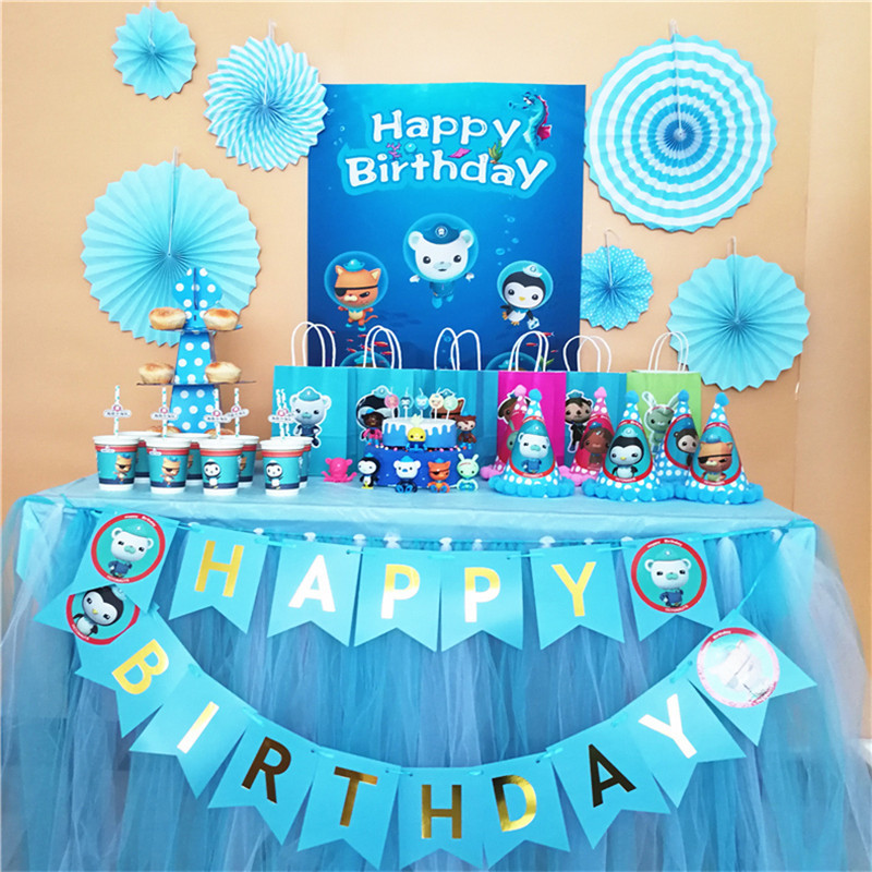 Original Octonauts Theme Birthday Party Supplies Decoration Creative Birthday Party Arrangement Tableware Tablecloth Suit Cap Ch