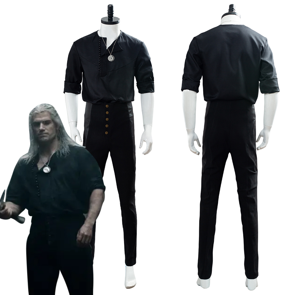 Geralt Of Rivia Costume Cosplay Casual Wear Male Men Halloween Carnival Costume Black Suit Custom Made